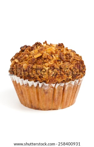 Granola Breakfast Muffins on white background. Selective focus. - stock photo