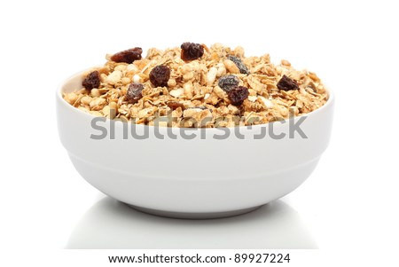 Granola breakfast on a bowl over white background - stock photo