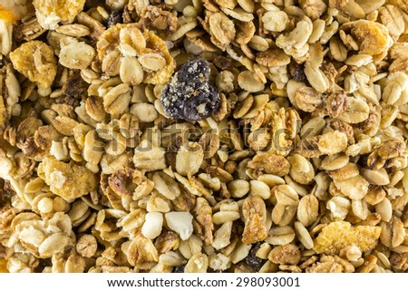 Granola cereal close up texture - mix cereal extreme close up - stock photo