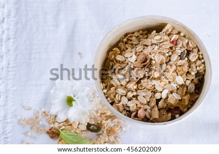 Granola in a bowl on light background