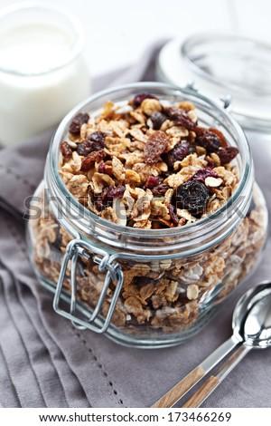 Granola in a jar - stock photo