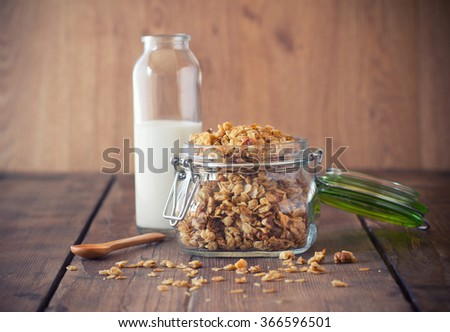 Granola in a jar - stock photo