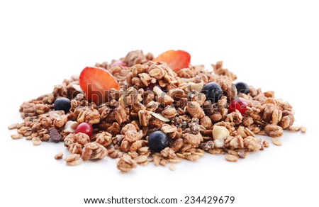 Granola isolated on white - stock photo