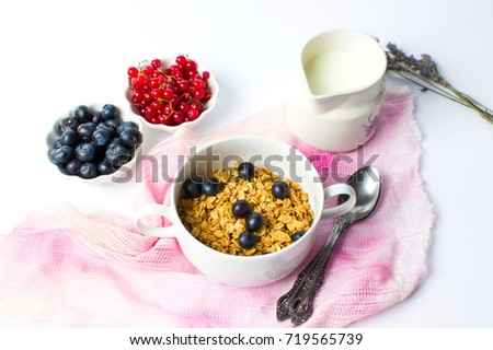 Granola muesli with berry fruit for a healthy breakfast
