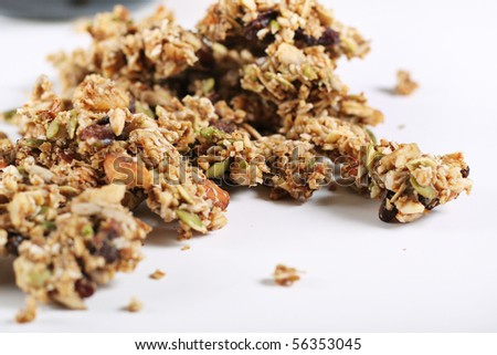 granola on white background - stock photo
