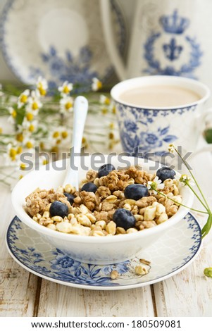 Granola with bran and berries - stock photo