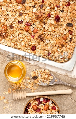 Granola with honey, dried fruit and nuts. See series - stock photo