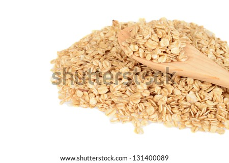 granola with wood spoon