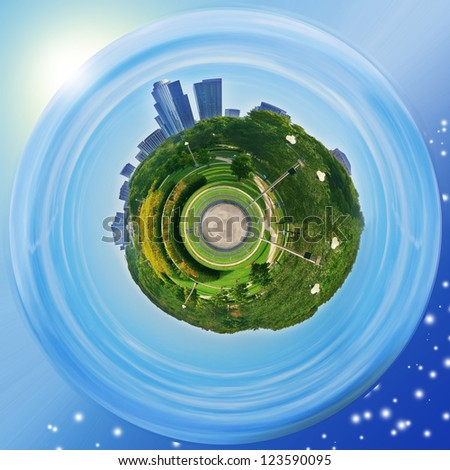 Grant Park planet with Chicago's cityscape - stock photo