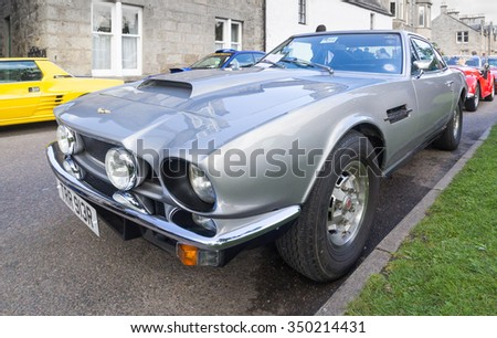 GRANTOWN ON SPEY, SCOTLAND - SEPTEMBER 6:Aston Martin V8 Vantage on September 6, 2015 in Grantown On Spey, Scotland