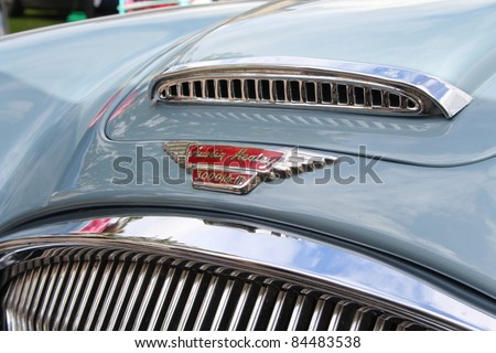 GRANTOWN ON SPEY, SCOTLAND - SEPTEMBER 4: Austin Healey on display in the annual Motor Mania car show on September 4, 2011 in Grantown On Spey, Scotland - stock photo