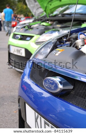 GRANTOWN ON SPEY, SCOTLAND - 4 SEPTEMBER: Ford Focus RS on display in the annual Motor Mania car show on September 4 2011 in Grantown On Spey, Scotland - stock photo