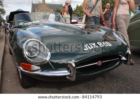 GRANTOWN ON SPEY, SCOTLAND - 4 SEPTEMBER: Jaguar E Type on display in the annual Motor Mania car show on September 4 2011 in Grantown On Spey, Scotland