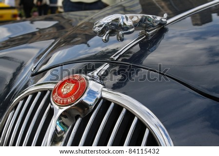 GRANTOWN ON SPEY, SCOTLAND - 4 SEPTEMBER: Jaguar Emblem on display in the annual Motor Mania car show on September 4 2011 in Grantown On Spey, Scotland - stock photo