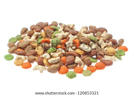 Granulated feed for cats and dogs. On a white background.