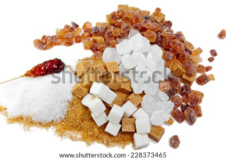Granulated sugar, sugar not refined, sugar candy white and brown   - stock photo
