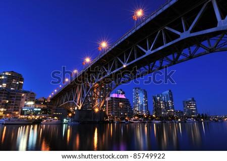 Granville Island Night Scene, Vancouver, British Columbia - stock photo