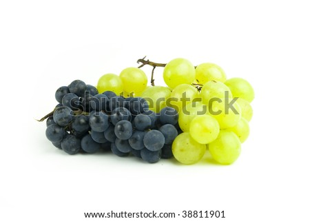 Grape cluster on white backgorund. Shot in studio.