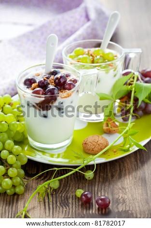 grape dessert with amaretti biscuits in glasses - stock photo