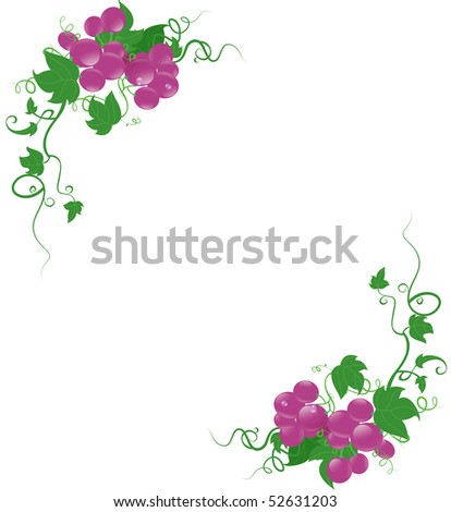 grape frame and elements background - stock photo