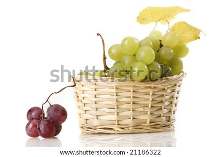 grape in basket isolated