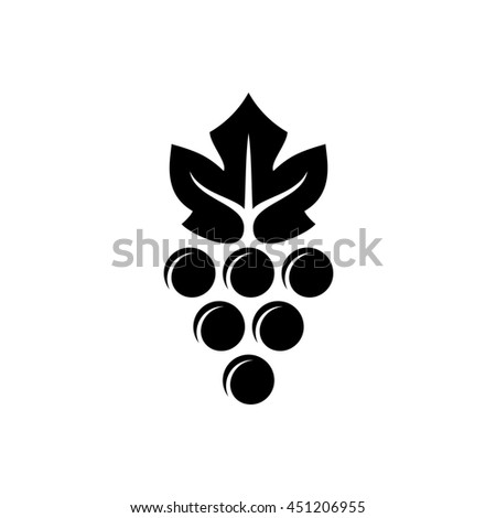 Grape logo. Violet grape berry with green leaf symbol. Wine sign. Black version. - stock photo