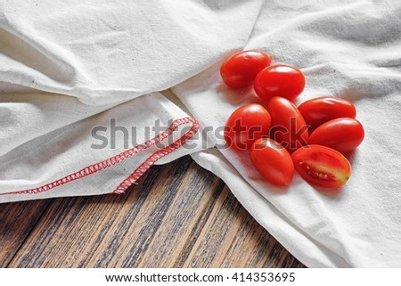 Grape or cherry tomatoes, Fresh tomatoes, Healthy ingredients. - stock photo