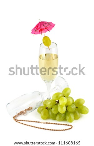 Grape wine glasses and a gold chain  isolated on a white background - stock photo