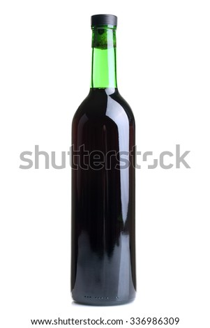 grape wine in a glass bottle closed by a cork isolated on white background - stock photo