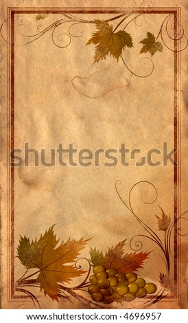 Grape, wine label, abstract floral background - stock photo