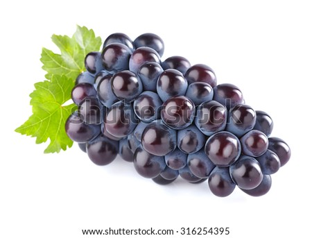 Grape with leaves - stock photo