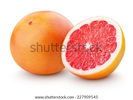 Grapefruit citrus fruit with half isolated on white with clipping path - stock photo