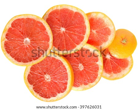 grapefruit cut in to slices close up top view isolated on white background.