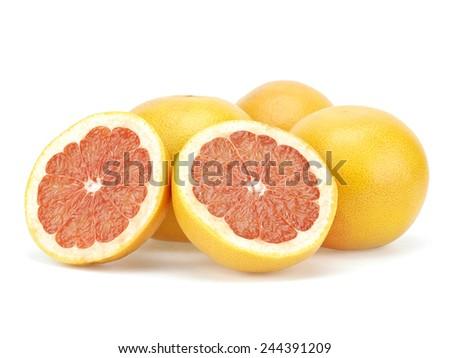 Grapefruit fruits on white background - stock photo