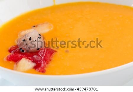 Grapefruit in mango liquid. - stock photo