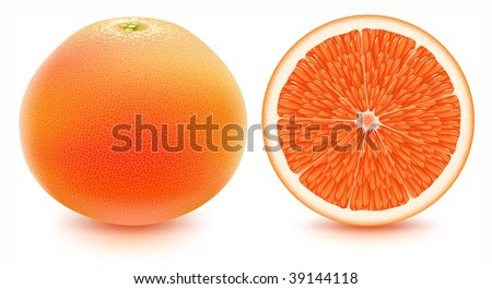 Grapefruit isolated on white. - stock photo