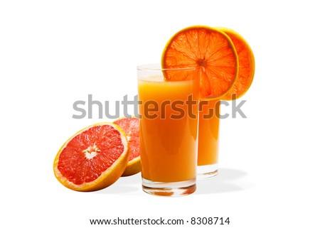 Grapefruit juice and grapefruits isolated on white - stock photo