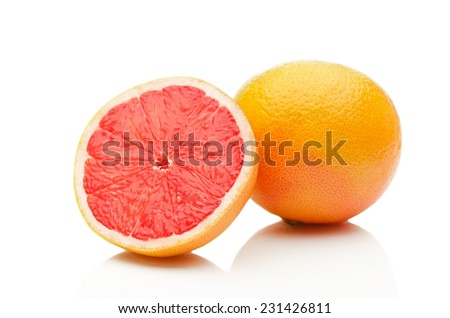 Grapefruit on white background - stock photo