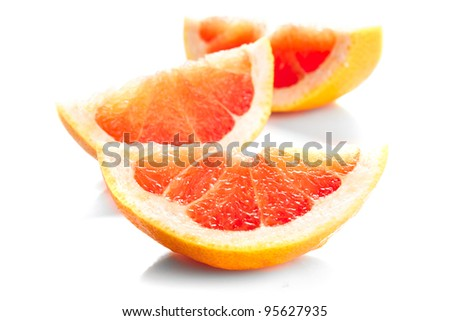 grapefruit's parts isolated on white, prepared for juice