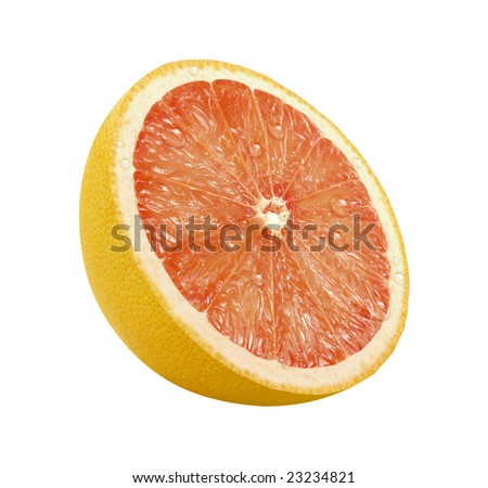 Grapefruit Slice with a clipping path, on a white background
