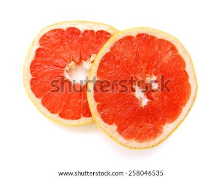 Grapefruit sliced on white background  - stock photo