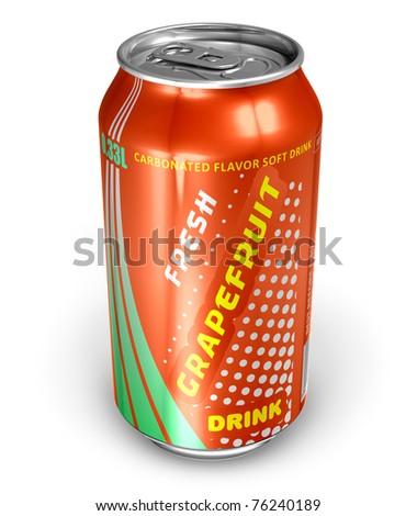 Grapefruit soda drink in metal can - stock photo