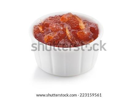 grapefruit strawberry marmalade isolated on white background  - stock photo
