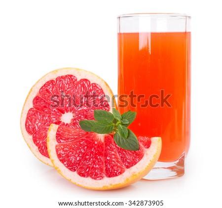 grapefruit with juice isolated on white background - stock photo