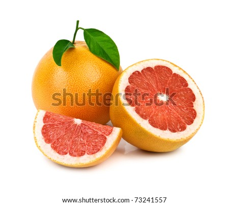 grapefruit with leaf isolated on white - stock photo