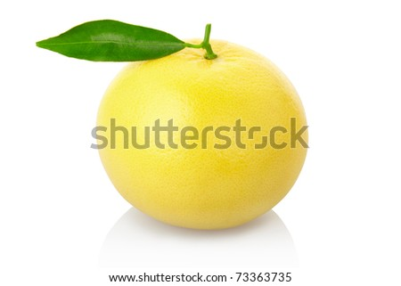 Grapefruit with leaf isolated on white background, clipping path included - stock photo