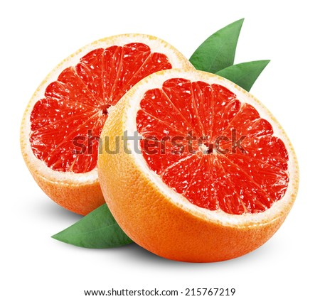 Grapefruit with slice and leaf on white background. Clipping Path