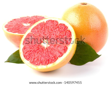 Grapefruit with slices isolated on white background - stock photo
