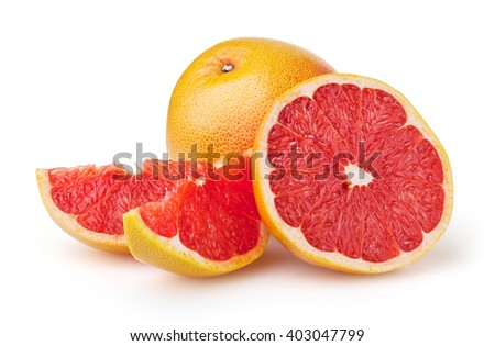 Grapefruits isolated on white background with clipping path - stock photo