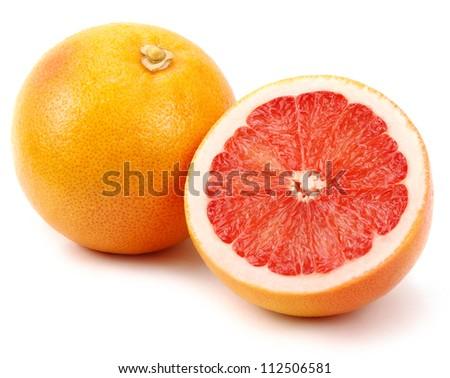 grapefruits on white background - stock photo